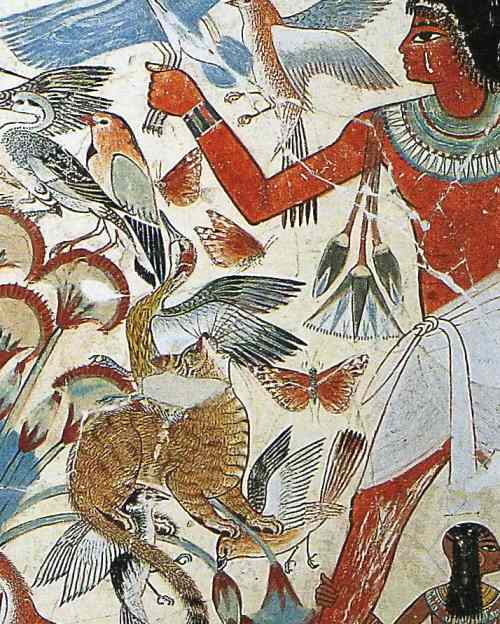 This picture shows butterflies on an ancient Egyptian fresco
