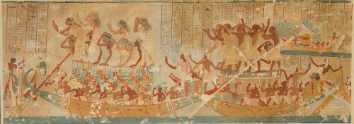 Boats of Mourners from the Tomb of Neferhotep. Nina de Garis Davies (about 1930). Rogers Fund 1931 (31.6.6)