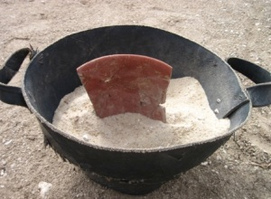 Bowl fragments being adhered