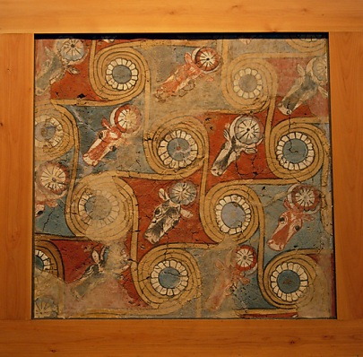 Ceiling painting from the palace of Amenhotep III Antechamber to King's bedroom, MMA 1910–1911 Mud plaster, paint, gesso Dimensions: Metropolitan Museum of Art, Rogers Fund,11.215.451