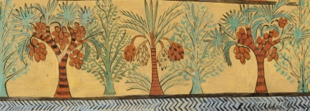 Date palm, dom palms and sycamore figs. Tomb of Sennedjem. Facsimile detail, Rogers Fund, 1930 (30.4.2)