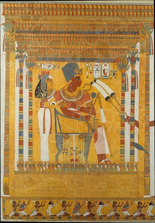 Facsimile painting of a scene depicting Amenhotep III and his mother, Mutemwia. Rogers Fund, 1915 (15.5.1)