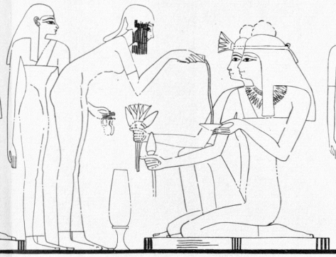 Drawing of a Scene showing a Servant pouring liquid into a dish. Tomb of Rekhmire (TT 100)