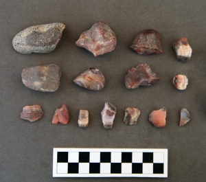 Fragments of cobbles and flakes from west of the Audience Pavilion