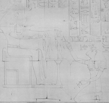 The goddess Heqat attends the birth of Hatshepsut, from her temple at Deir el-Bahari