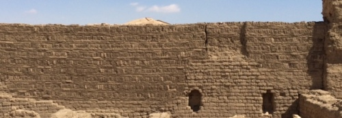 A typical completed mud brick wall before plastering.