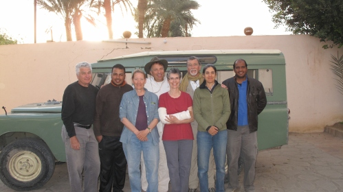 Our 2015 team, from left to right: our surveyor, Joel Paulson; our driver, Mohamed [] ; Catharine Roehrig; Peter Lacovara; Diana Craig Patch; our brick expert, Tony Crosby; Janice Kamrin; and our excavation manager, Hassaan [].