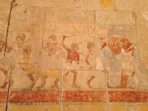 Dancers from a relief in the memorial temple of Hatshepsut, a female king who lived about 50 years before Amenhotep III.