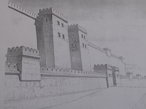 Reconstruction drawing of the battered perimeter wall outside Medinet Habu Temple.