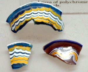 Fragments of rims of glass vessels in Gallery 120.