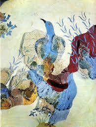 """Blue Bird fresco"" from Akrotiri on Thera; Middle Minoan, ca. 1700-1525 BC"